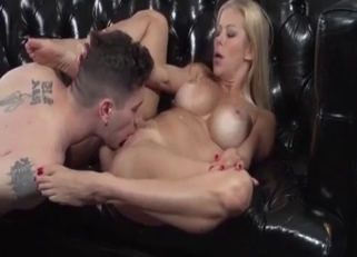 Busty blonde blows her son on her knees