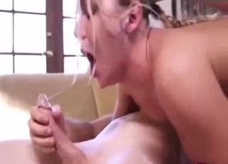 Busty blonde riding her dad's huge dick
