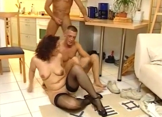 Black stockings MILF destroyed by her sons