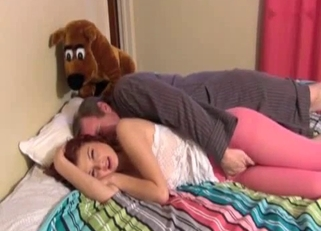 Pink leggings redhead seduced by her father