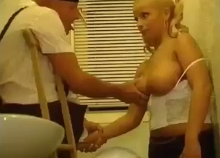 Blond-haired beauty in white jerks her creepy dad's cock