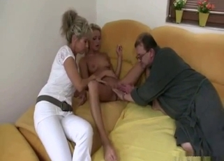 Tanned blonde fucked by her crazy parents