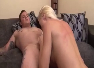 Busty blonde fucked upside down on camera