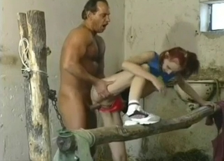 Confused-looking redhead fucking her hung dad