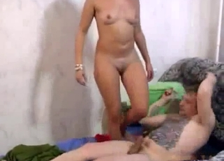 Curly-haired blonde blows her hung dad on cam