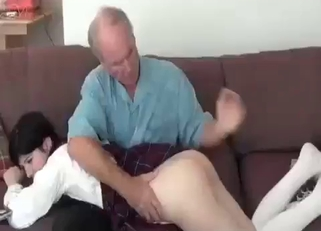 Pale ass brunette gets spanked/banged by her dad