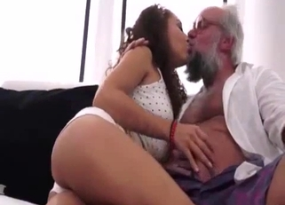 Tanned curly-haired beauty fucking her elderly father
