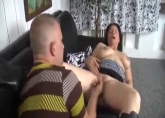 Boots-wearing brunette destroyed by her hung son