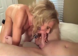 Blond-haired beauty in a dress fucks her son