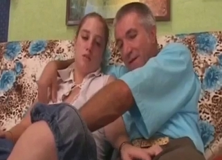 Teen in white and her horny daddy