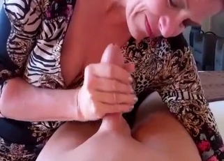 Ponytailed MILF is eager to please her son