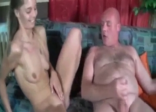 Ponytailed hottie fucking her fat father on cam