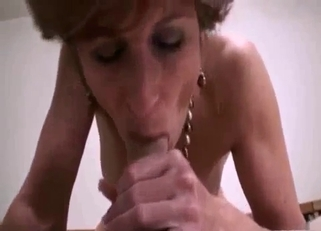Short-haired smoking mom fucked by her son