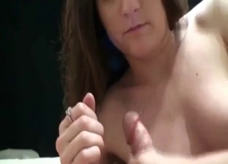 Brunette blows her hung father on camera