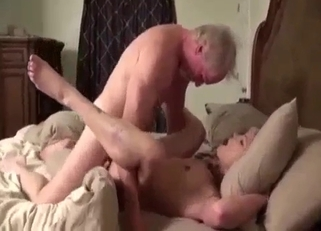 Brunette rides her father's huge dick