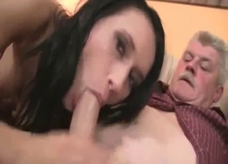 Dark-haired beauty licked and dicked by the parents