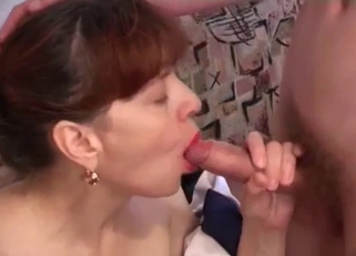 Awful dress brunette MILF fucking her son