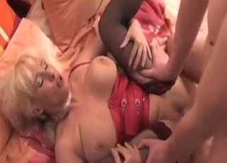 Red corset MILF destroyed by her hung son