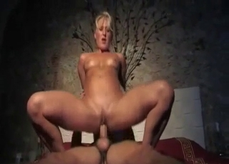 Hairy pussy blonde spit-roasted by the family