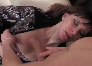 Brunette in black loves her son's sexy body