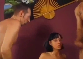 Tanned brunette destroyed by two huge cocks, incest DP