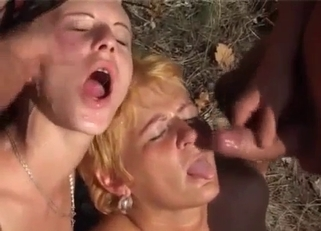 Outdoors sex session with two incest sluts